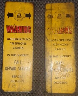 TWO Telephone company 12 inch porcelain metal signs