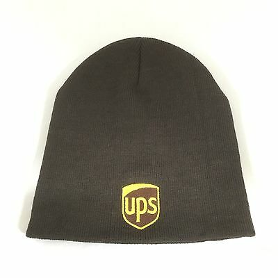 "UPS Beanie Short 9"" Decky Custom Embroidery Knit Brown United Parcel Service"