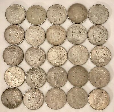 LOT Of 25 PEACE SILVER DOLLARS - Lot #6 - Free Priority Shipping