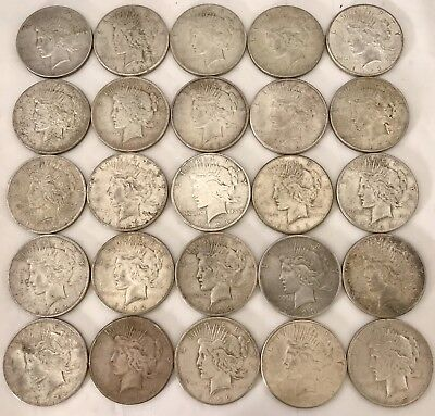 LOT Of 25 PEACE SILVER DOLLARS - Lot #7 - Free Priority Shipping