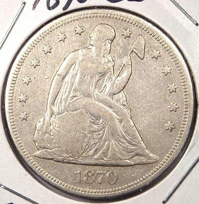 1870-CC Seated Liberty Silver Dollar $1 - VF/XF Details - Rare Carson City Coin!