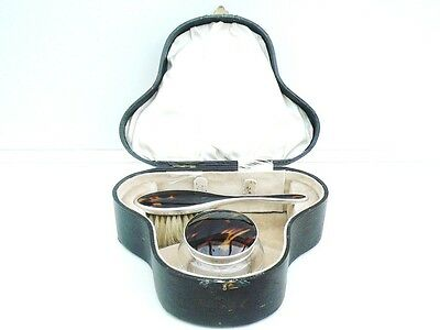 Silver Blonde Faux Shell Hair Brush & Glass Jar, Sterling, Hallmarked 1926