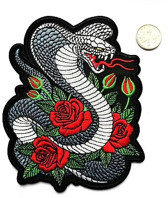 """Cobra Embroidered Snake Rose Applique Patch Iron On 4.75"""" Quality Biker Free P&P"""