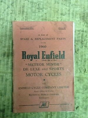 Royal Enfield Meteor Minor De Luxe Parts Book 1960