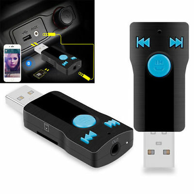 USB Bluetooth Audio Receiver 3.5mm Car AUX Stereo Handsfree MP3 Player Adapter