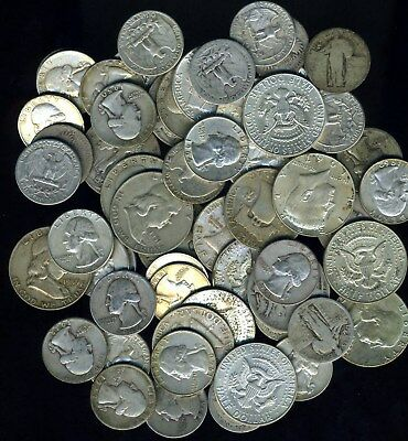 90% Silver Coins  $10 Face Value--All Quarters And Half Dollars Fast Shipping