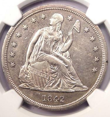 1842 Seated Liberty Silver Dollar $1 - NGC AU Details - Rare Early Date Coin!