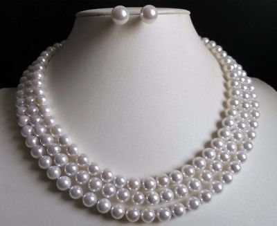 "Long  36"" 54"" 72"" 8mm White Akoya Shell Pearl Necklace+Earring Set"