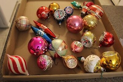 Mixed Lot 22 Vintage Antique Glass Figural & Indent Round Christmas Ornaments