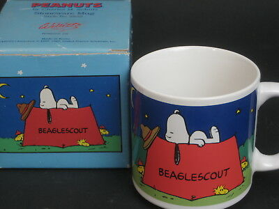 Vintage Snoopy & Woodstock Beaglescout Mug in original Box Willitts style #8832