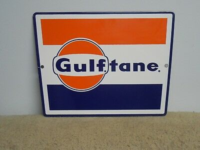 Gulf Oil Co. Gulftane Gas Pump Porcelain Sign