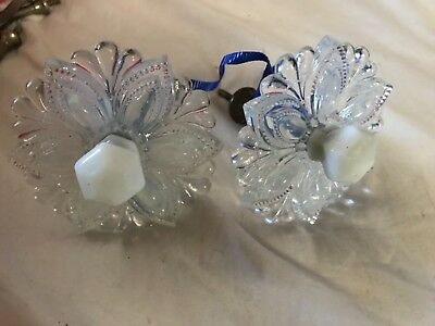 Pair Opalescent Glass Antique Curtain tiebacks sandwich? Wall Sash Mount EAPG