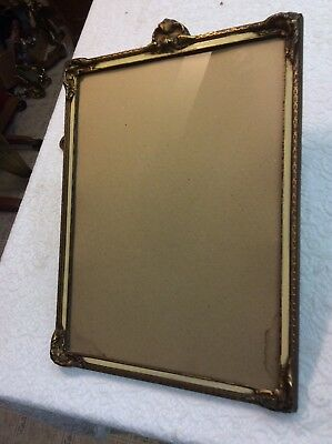 Antique French Batwing Corner Mirror Picture Frame Ornate Original Glass Wavy