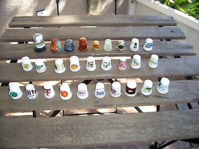 Mixed Lot of 28 Vintage Thimbles Metal Glass Ceramic