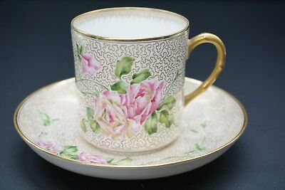 Gorgeous Antique Swedish Rorstrand Hand Painted Cup and Saucer Gold Floral - A