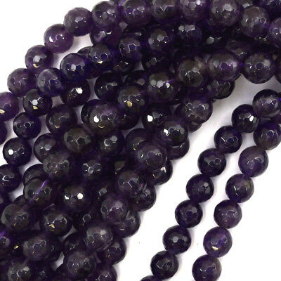 """Faceted Purple Amethyst Round Beads 15.5"""" Strand 2mm 3mm 4mm 6mm 8mm 10mm 12mm"""