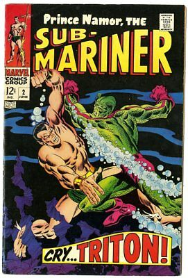 Sub-Mariner #2 VF 8.0 off-white pages  vs. Triton  Marvel  1968  No Reserve