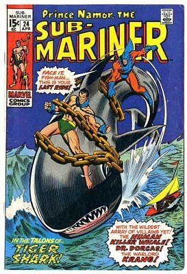 Sub-Mariner #24 FN+ 6.5 white pages  vs. Tiger Shark  Marvel  1970  No Reserve