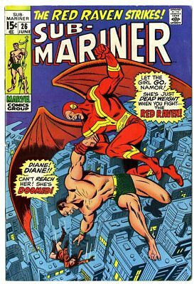 Sub-Mariner #26 VF+ 8.5 ow/white pages  vs. Red Raven  Marvel  1970  No Reserve