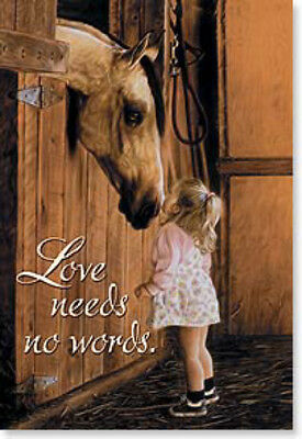 LEANIN TREE Love Needs No Words #25714 Horse with Little Girl~Fridge Magnet~