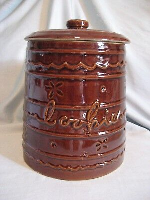 Vintage 1950s MARCREST DAISY & DOT Brown Stoneware Cookie Jar w/ Lid