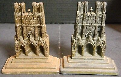 "Antique Solid Brass Rheims Cathedral Bookends 5"" x 4"" x1.75"" Tarnished Very Good"