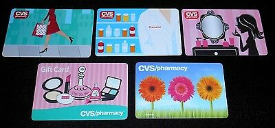 5 Collectible Gift Card CVS Pharmacy Store Girly Pink Med Dif Lot No Value <2010