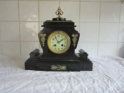 Unusual and Beautiful Slate Bell Chiming Clock -Mougin Circa 1900