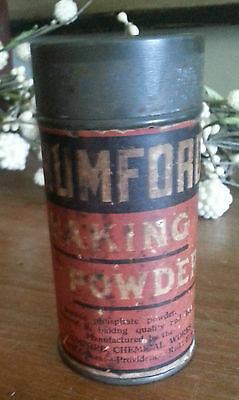 Old Advertising Tin RUMFORD Baking Powder Chemical Works Providence RI Label