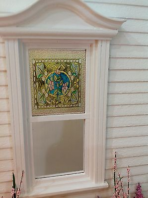 Pink Flower Circle Style Dollhouse Miniature Victorian Stained Glass Window Film