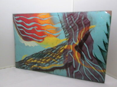 Copper ART Piece Enameled Solid Metal VNTG Flag Bird Sailing Ocean Scene COLORS!