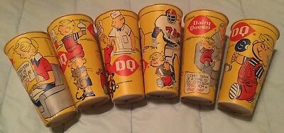 6 Vintage Dairy Queen 24 Oz. Paper Cups-Dennis the Menace- c. 1976 DQ Lily Cup