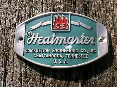 Vintage Old Heatmaster Furnace Embossed Name Plate Sign Tag Chattanooga TN