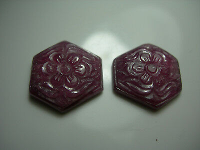 28.92ctw Fancy Carved Ruby gems Hexagonal Flower carvings FLUORESCENT pair
