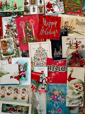 Lot 103+ Vintage Christmas Cards Angels Snowmen Candles Snowy Homes Santas *A5*