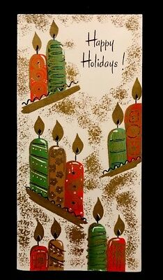 GIBSON MCM Chunky Rolled Metallic Candles On a Platter Vintage Holiday Card 50s