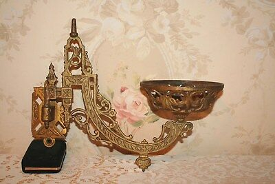 Large Antique Oil Lamp Wall Bracket / Sconce Cast Iron Very Ornate Marked B & H