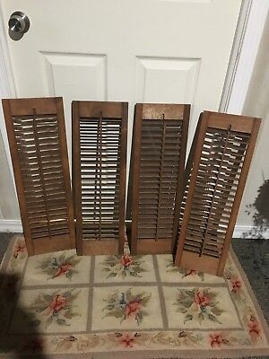 "28"" Tall x 34.5"" W VTG Colonial Wood Interior Louver Plantation Window Shutters"