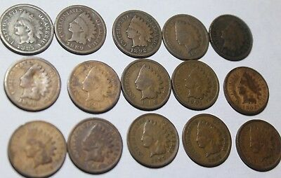 15 INDIAN Cents1880's-1900's NICE COINS full dates  see dates in disc.(LOT #6)