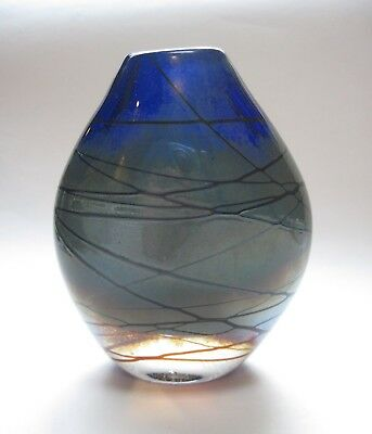 "Lovely 1991 Studio Art Glass 4.5"" Organic Bud Vase Cobalt Signed AMF"