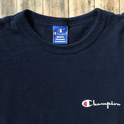 Vtg Champion Logo T-Shirt Navy - Size Large/XL, Made in USA