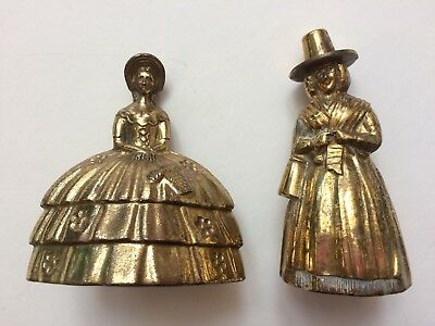 """VINTAGE SOLID BRASS LADY BELL~MADE in ENGLAND~4.25"""" tall~Heavy Duty~NICE!"""