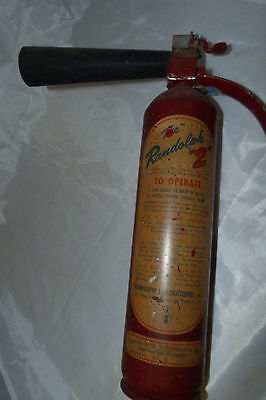 Vintage THE RANDOLPH 2 Red Fire Extinguisher NO D Carbon Dioxide with Horn