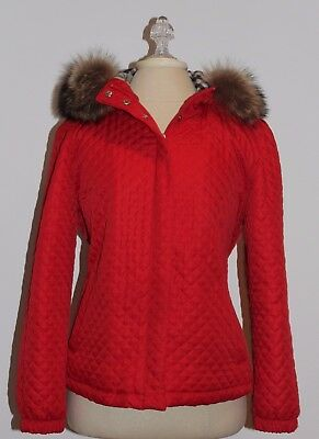 Burberry Red Quilted Parka Style Jacket W/nova Check Wool Lining Sz M