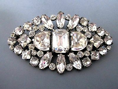 Vintage Art Deco Large Dazzling Crystal Clear  Rhinestone Paste  Brooch