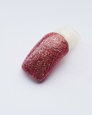 Rose pink multi coloured glitter acrylic powder NSI pre-mixed 3g pot
