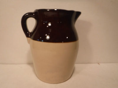 "Vintage/Antique Stoneware Pottery Jug/Pitcher Brown & Beige 8-3/4"" Tall"