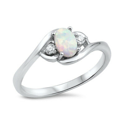 Women's Oval Clear CZ White Lab Opal Ring .925 Sterling Silver Band Sizes 4-12