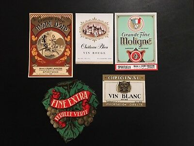 Original & Vintage  Lot  of 15 European Wine Labels  -  LOT BB