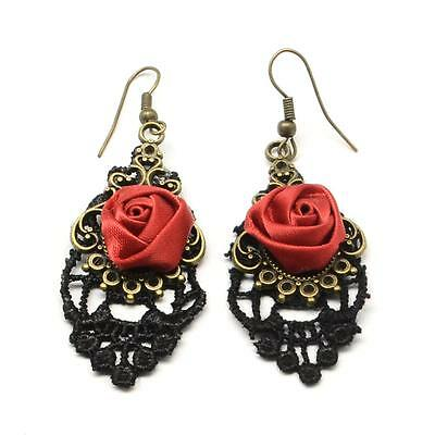 Antique Style Victorian Black Lace with Red Rose Dangle Earrings